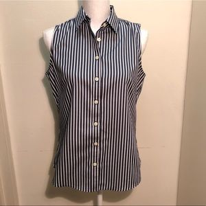 Banana Republic Blue Pinstripe Fitted Blouse 8